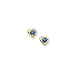 14K Yellow Gold Child s Genuine Sapphire Birthstone Heart Earrings