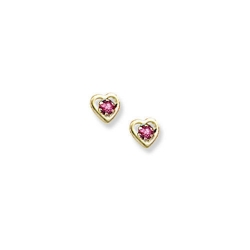 14K Yellow Gold Child s Genuine Tourmaline Birthstone Heart Earrings