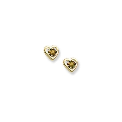 14K Yellow Gold Child s Genuine Citrine Birthstone Heart Earrings