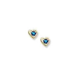 14K Yellow Gold Child s Genuine Blue Zircon Birthstone Heart Earrings