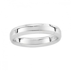 14k  White Gold 5mm Beveled Edge Wedding Band