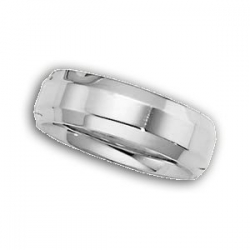 14k White Gold 6mm Beveled Edge Wedding Band