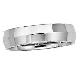 14k White Gold 6mm Knife Edge Wedding Band