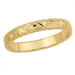 14k Yellow Gold 4mm Fancy Wedding Band