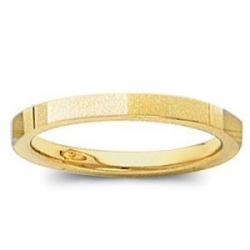 14k Yellow Gold 2mm Flat Satin Finish Wedding Band