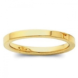 14k Yellow Gold 2mm Flat Polish Finish Wedding Band