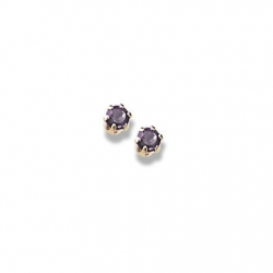 14K Yellow Gold Child s Genuine Amethyst Birthstone Stud Earrings