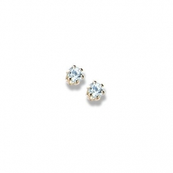 14K Yellow Gold Child s Genuine Aquamarine Birthstone Stud Earrings