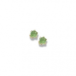14K Yellow Gold Child s Genuine Emerald Birthstone Stud Earrings