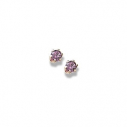 14K Yellow Gold Child s Genuine Rhodolite Birthstone Stud Earrings