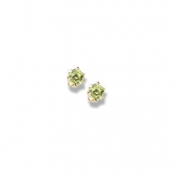 14K Yellow Gold Child s Genuine Peridot Birthstone Stud Earrings