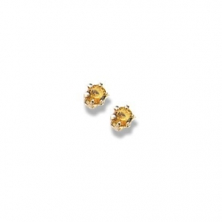 14K Yellow Gold Child s Genuine Citrine Birthstone Stud Earrings