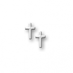 14K  White Gold Children s  Cross  Safety Back Earrings
