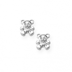 14K  White Gold Children s  Teddy Bear  Safety Back Earrings