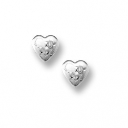 14K  White Gold Child s  Heart   with Flower Hand Engraved Earrings