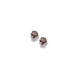 14K  White Gold Child s Genuine Garnet Birthstone Stud Earrings