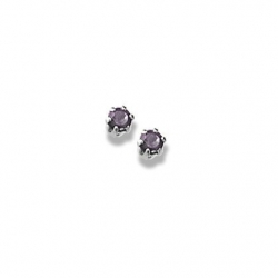 14K  White Gold Child s Genuine Amethyst Birthstone Stud Earrings