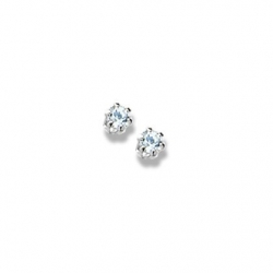 14K  White Gold Child s Genuine Aquamarine Birthstone Stud Earrings