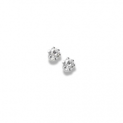 14K  White Gold Child s Genuine White Topaz Birthstone Stud Earrings