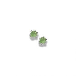 14K  White Gold Child s Genuine Emerald Birthstone Stud Earrings