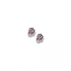 14K  White Gold Child s Genuine Rhodolite Birthstone Stud Earrings