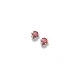 14K  White Gold Child s Genuine Ruby Birthstone Stud Earrings