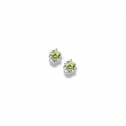 14K  White Gold Child s Genuine Peridot Birthstone Stud Earrings