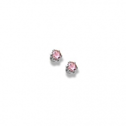 14K  White Gold Child s Genuine Tourmaline Birthstone Stud Earrings