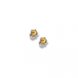 14K  White Gold Child s Genuine Citrine Birthstone Stud Earrings