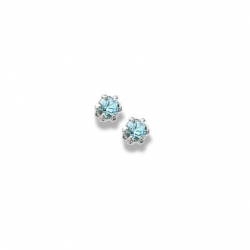 14K  White Gold Child s Genuine Blue Zircon Birthstone Stud Earrings
