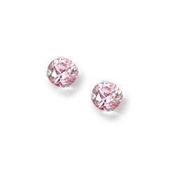 14K  White Gold Children s Pink Cubic Zirconia Stud Earrings