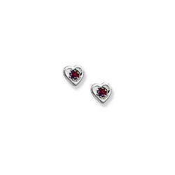 14K  White Gold Child s Genuine Garnet  Heart  Birthstone Earrings