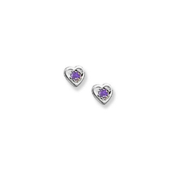14K  White Gold Child s Genuine Amethyst  Heart  Birthstone Earrings