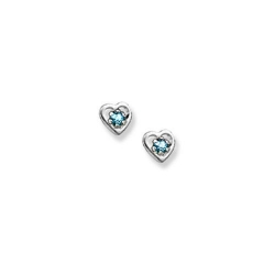 14K  White Gold Child s Genuine Aquamarine  Heart  Birthstone Earrings