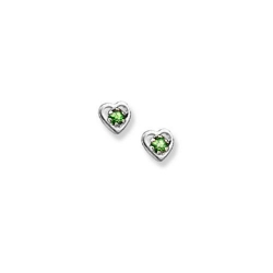 14K  White Gold Child s Genuine Emerald Heart Birthstone Earrings
