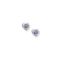 14K  White Gold Child s Genuine Rhodolite Heart Birthstone Earrings