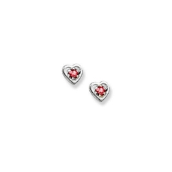 14K  White Gold Child s Genuine Ruby Heart Birthstone Earrings