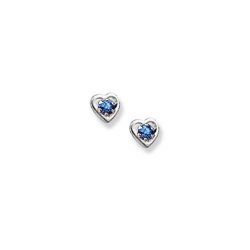 14K  White Gold Child s Genuine Sapphire Heart Birthstone Earrings