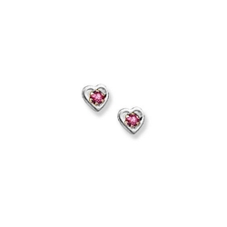 14K  White Gold Child s Genuine Tourmaline Heart Birthstone Earrings