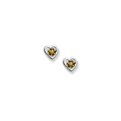 14K  White Gold Child s Genuine Citrine Heart Birthstone Earrings