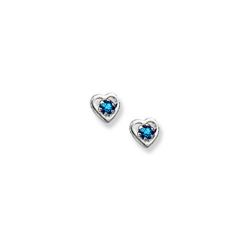 14K  White Gold Child s Genuine Blue Zircon Heart Birthstone Earrings