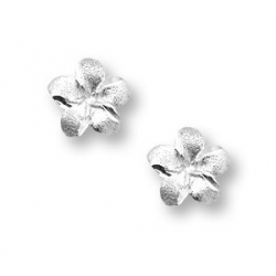 14K  White Gold Children s  Flower  Hand Engraved Earrings