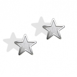 14K  White Gold Children s  Star  Safety Back Earrings