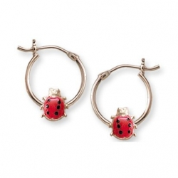 14K  Yellow Gold Children s Hoops with Lady Bug Earrings