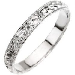 14k White Gold 4mm Fancy Wedding Band