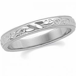 14k White Gold 3mm Hand Engraved Fancy Wedding Band