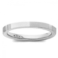 14k White Gold 2mm Flat Satin Finish Wedding Band
