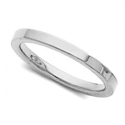 14k White Gold 2mm Flat Polish Finish Wedding Band