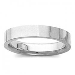 14k White Gold 3mm Tapered Polished Wedding Band