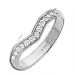 14k White AA Diamond Wedding Band